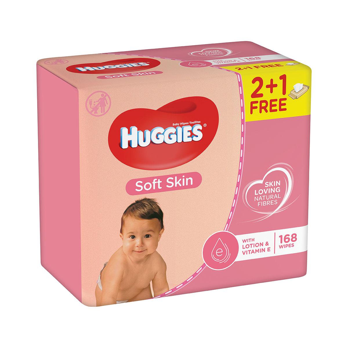 Servetele umede Huggies Soft Skin, 2 + 1, 168 buc imagine