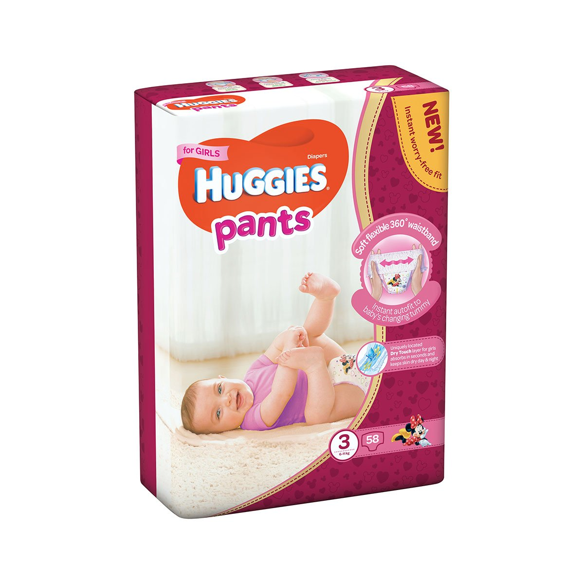 Scutece Huggies Mega Pants Girls, Nr 3, 6 - 11 Kg, 58 buc