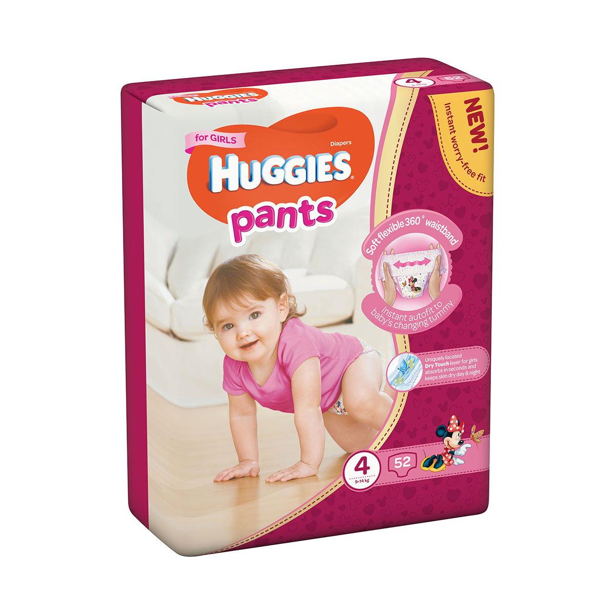 Scutece Huggies Mega Pants Girls, Nr 4, 9 - 14 Kg, 52 buc imagine