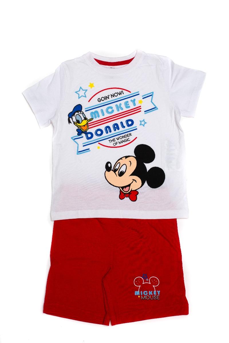 Pijama cu imprimeu frontal Disney Mickey, Donald, Rosu
