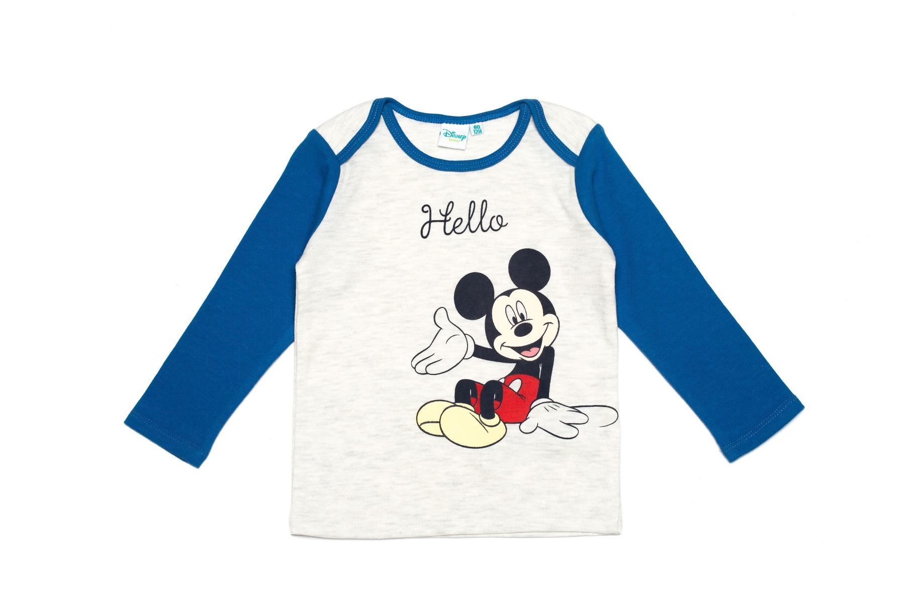 Tricou cu maneca lunga si imprimeu Disney Mickey Mouse, Hello, Albastru