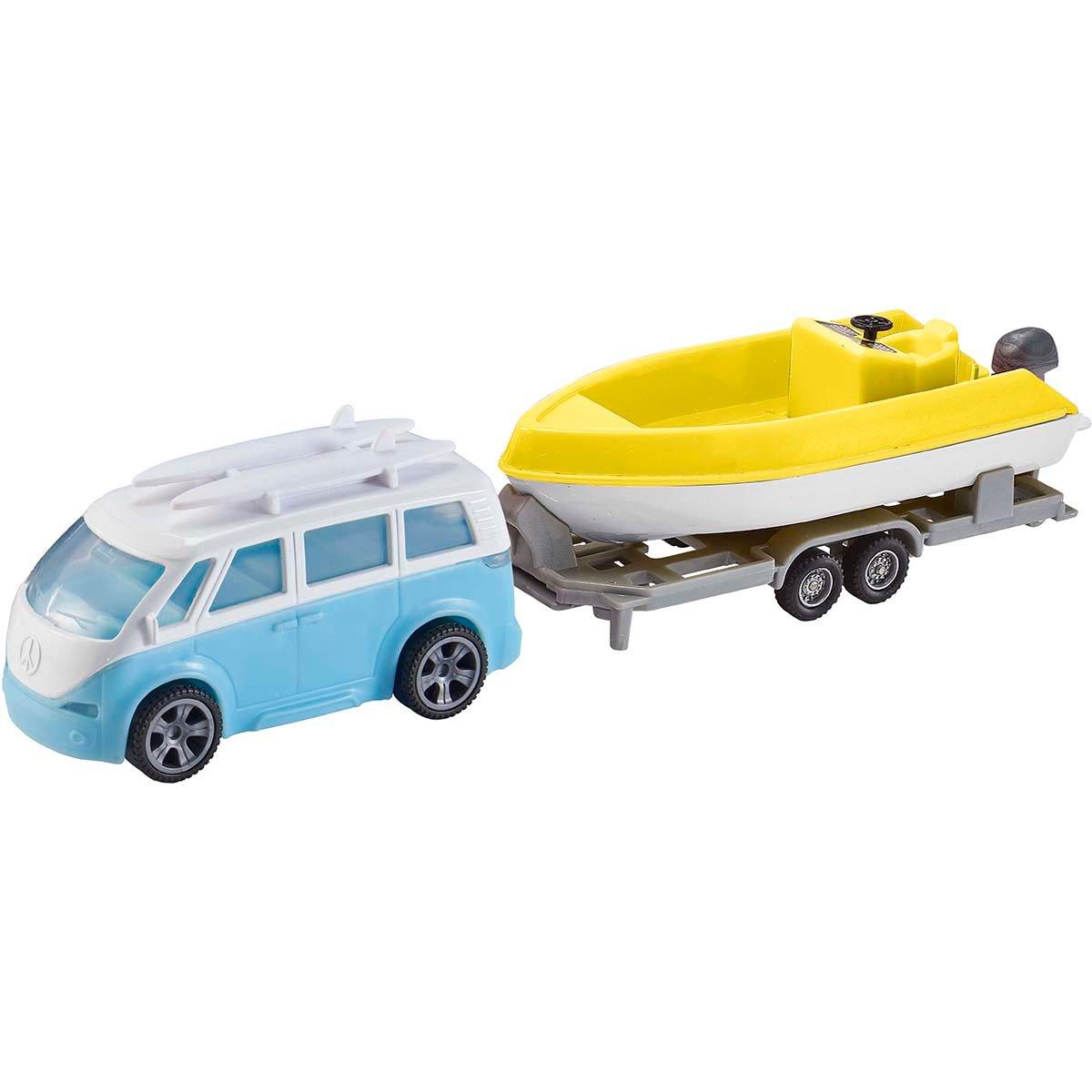 Set masinuta cu remorca si barca Teamsterz, Galben