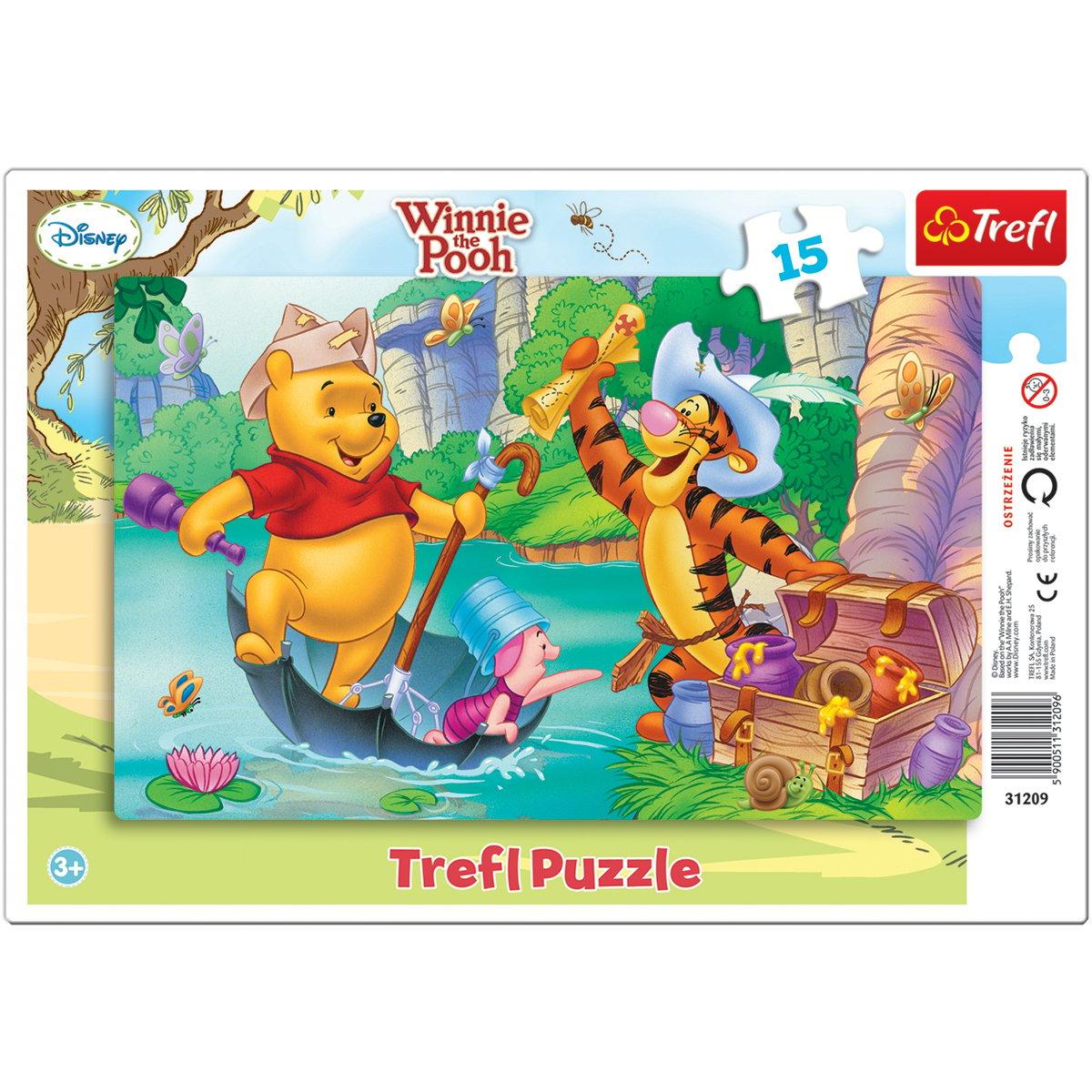 Puzzle Trefl 15 piese in rama, Vanatoarea de comori, Winnie the Pooh