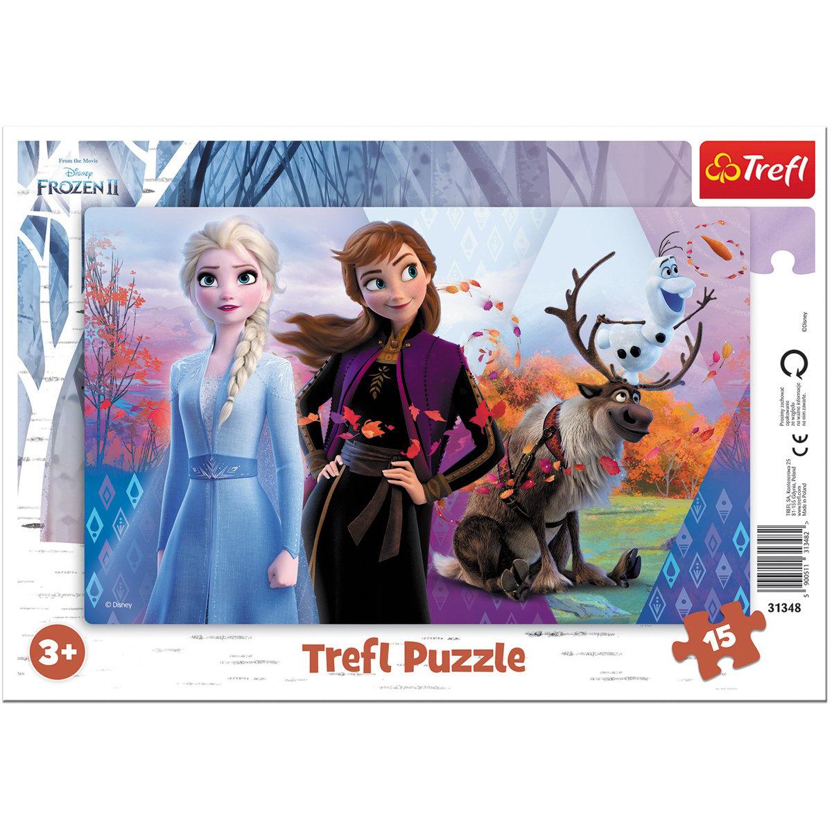 Puzzle Trefl 15 piese in rama, Lumea magica a Annei si Elsei, Disney Frozen 2