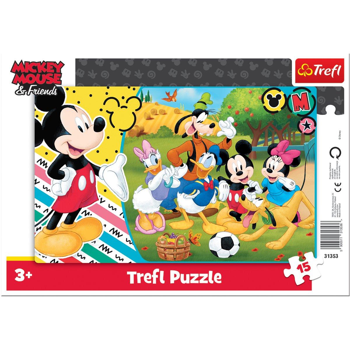 Puzzle Trefl 15 piese in rama, Mickey la tara, Disney Mickey Mouse