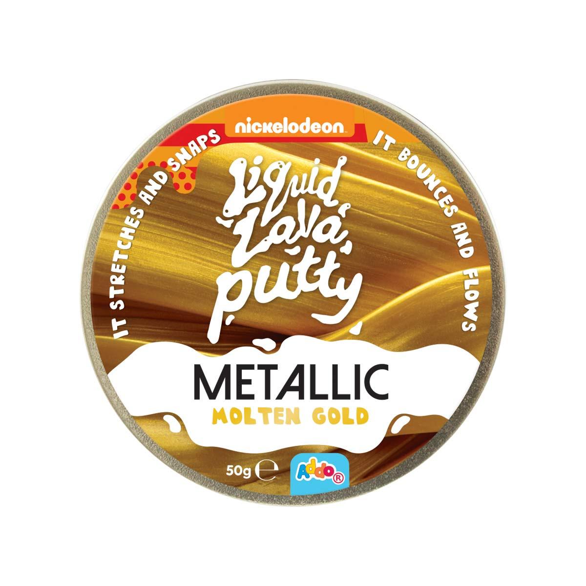 Plastilina inteligenta Nickelodeon Lava Putty, Metallic Gold
