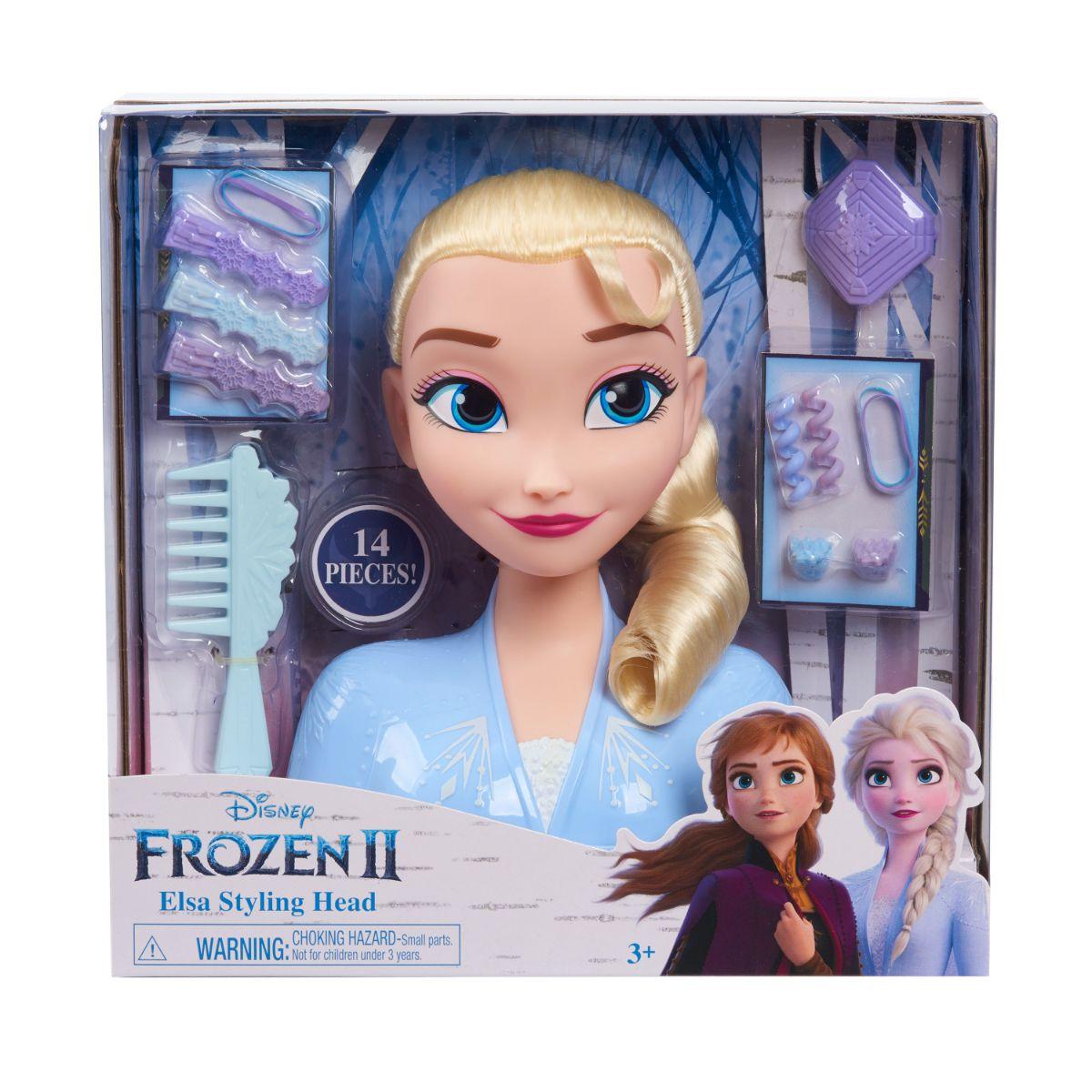 Papusa Elsa Frozen 2, Styling Head - Manechin pentru coafat cu accesorii incluse