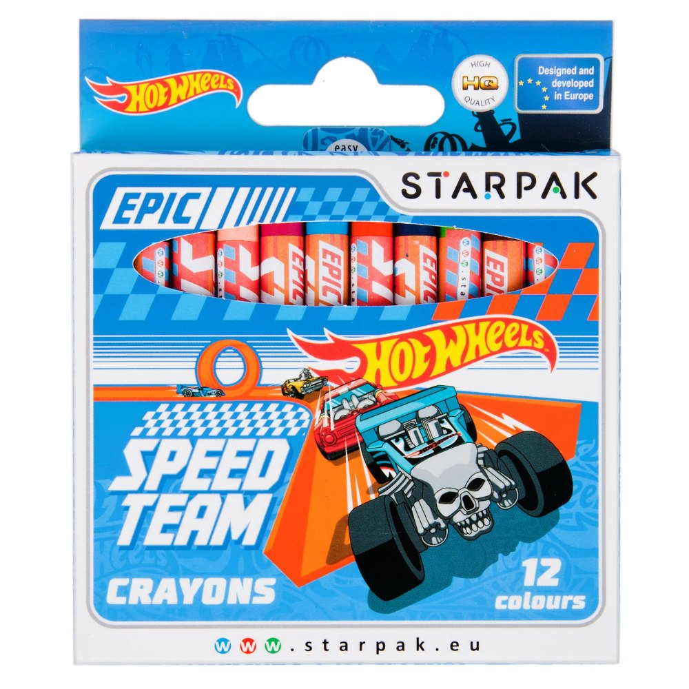 Set 12 creioane cerate Starpak, Hot Wheels