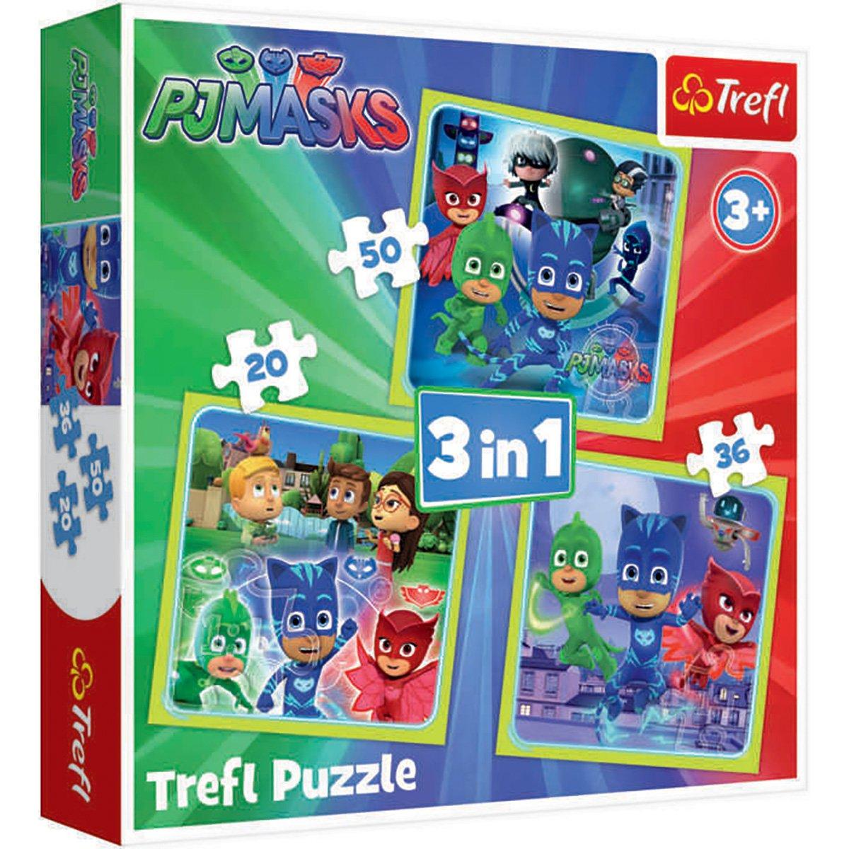 Puzzle 3 in 1 Trefl, Pj Masks, Gata de actiune (20, 36, 50 piese)