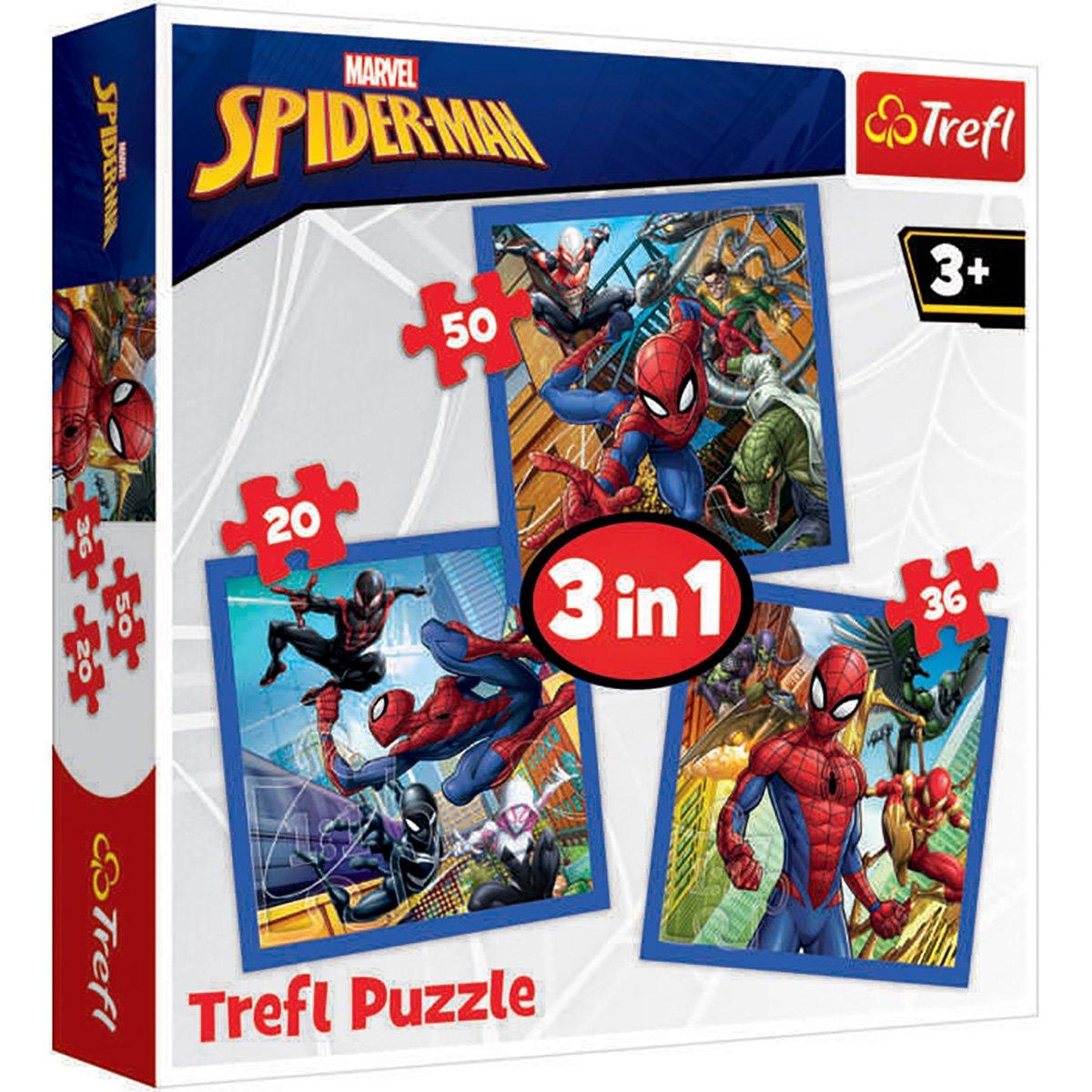Puzzle 3 in 1 Trefl, Spiderman, Puterea paianjenului (20, 36, 50 piese)