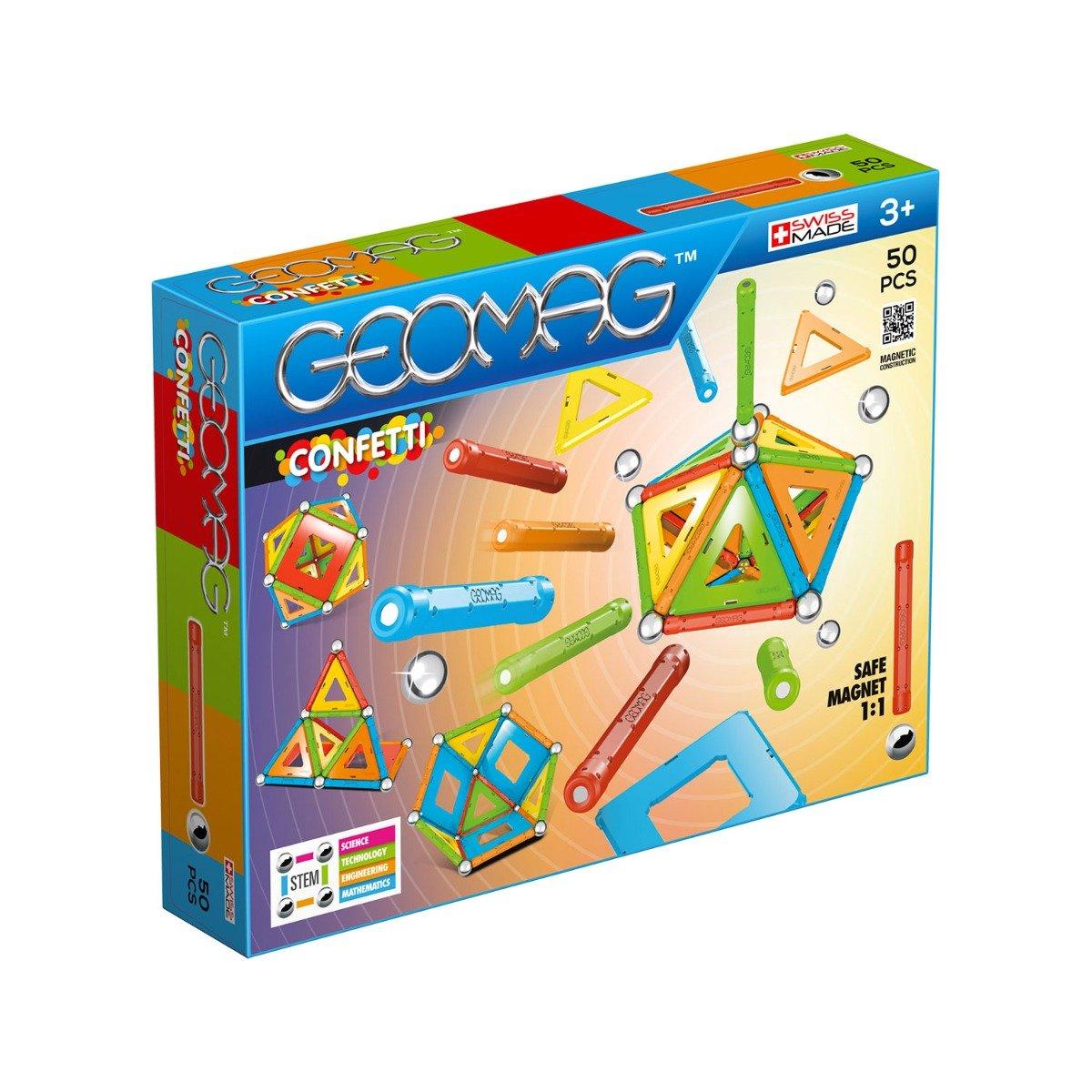 Joc de constructie magnetic Geomag Confetti, 50 piese