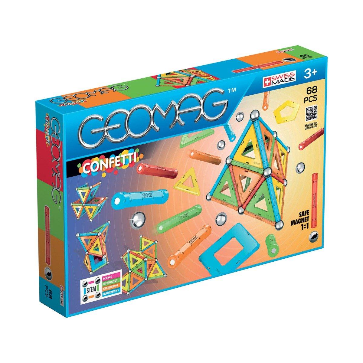 Joc de constructie magnetic Geomag Confetti, 68 piese