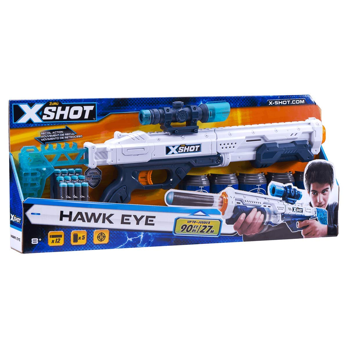 Set pusca X-Shot Hawk Eye cu luneta, 12 proiectile, 5 tinte imagine 2021