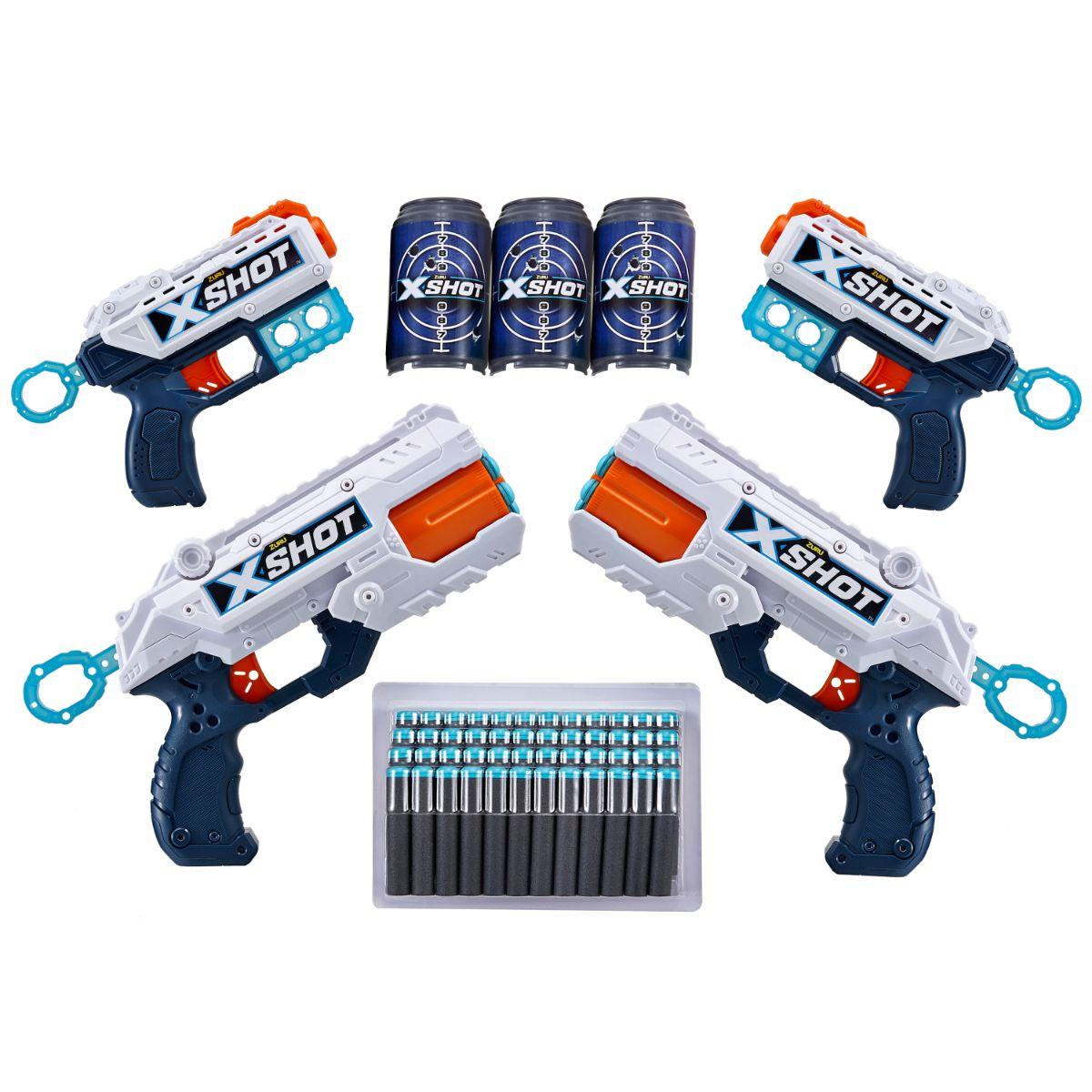 Set X-Shot Combo Pack cu 2 Blaster Reflex si 2 Blaster Kickback