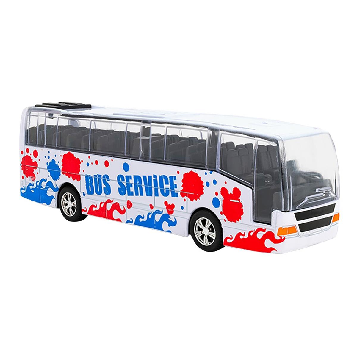 Autobuz din metal cu sunete si lumini Globo, Alb
