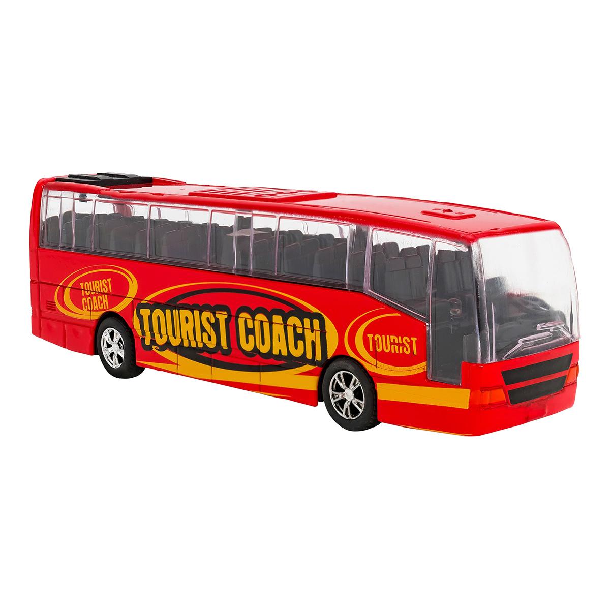 Autobuz din metal cu sunete si lumini Globo, Rosu