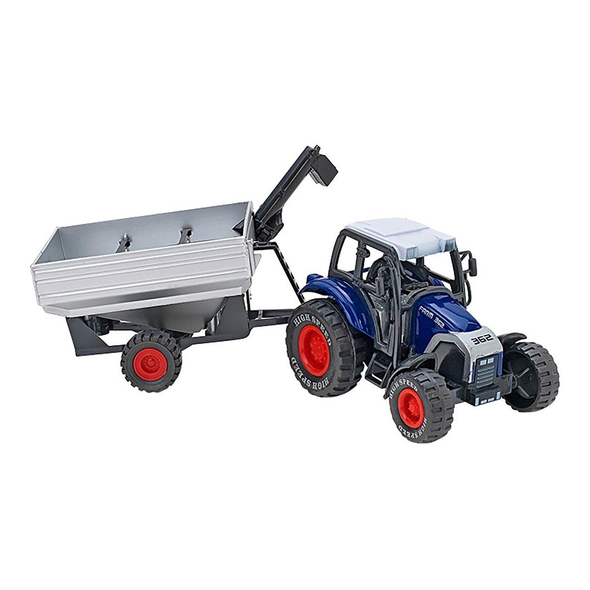 Tractor cu remorca Globo Spidko Farm World, Albastru