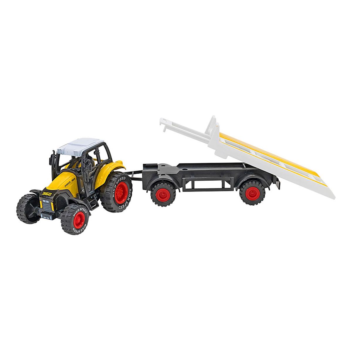 Tractor cu remorca Globo Spidko Farm World, Galben