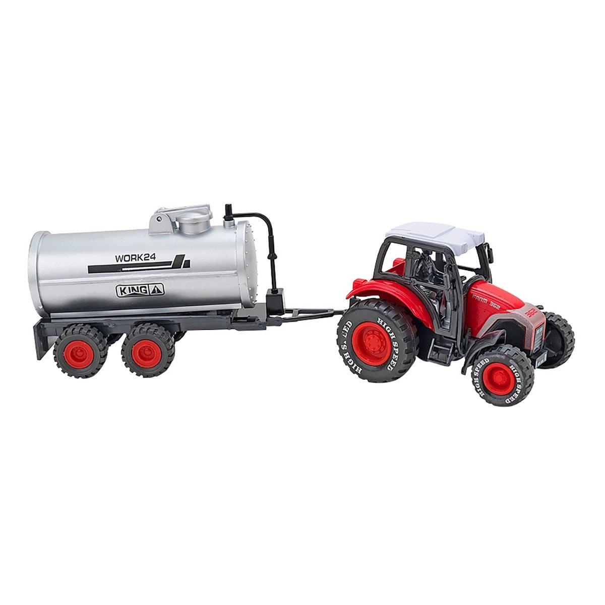 Tractor cu remorca Globo Spidko Farm World, Rosu