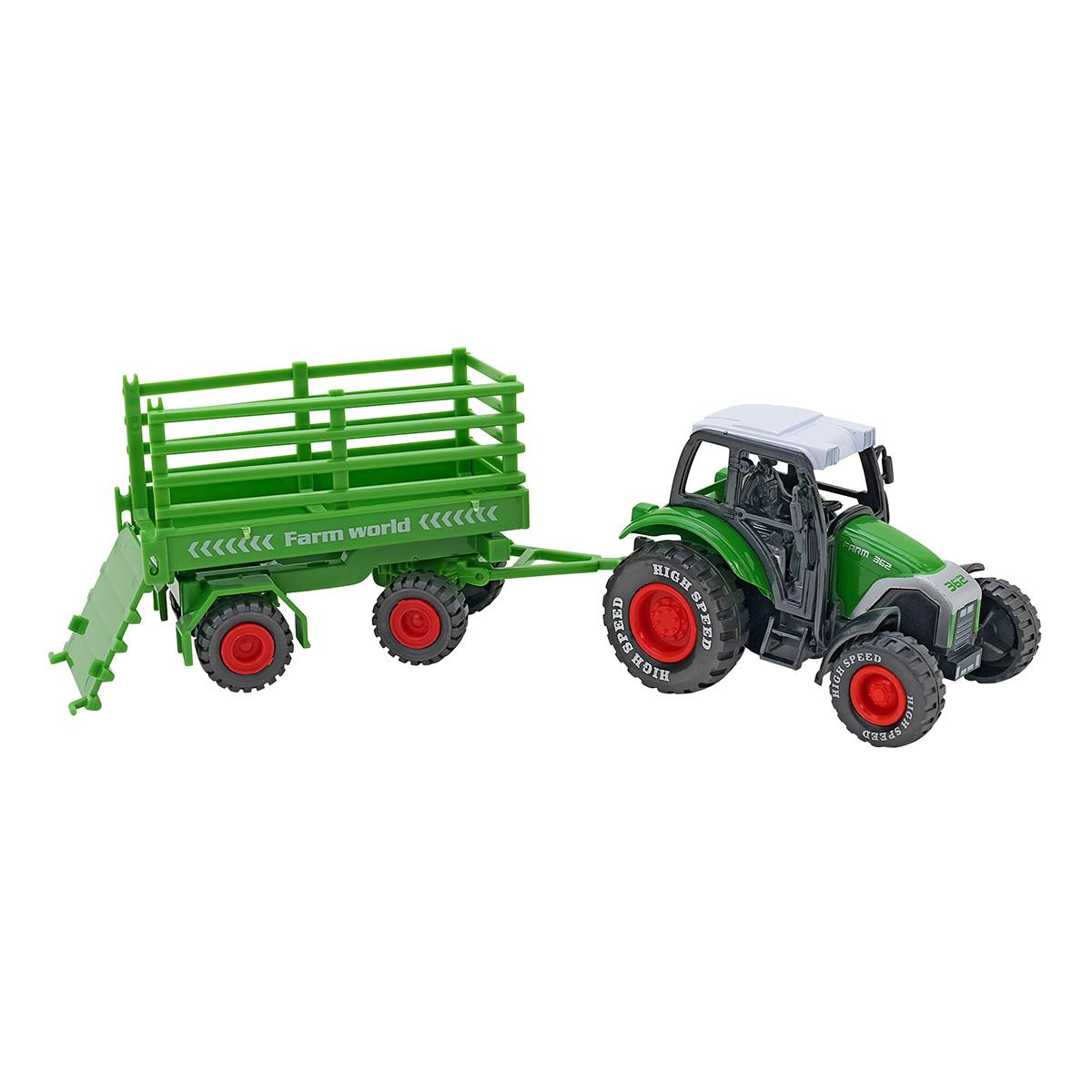 Tractor cu remorca Globo Spidko Farm World, Verde