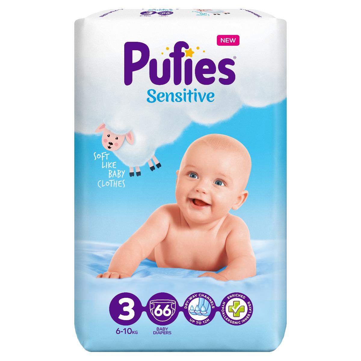 Scutece Pufies Sensitive Nr 3, 6 - 10 Kg, 66 buc imagine 2021