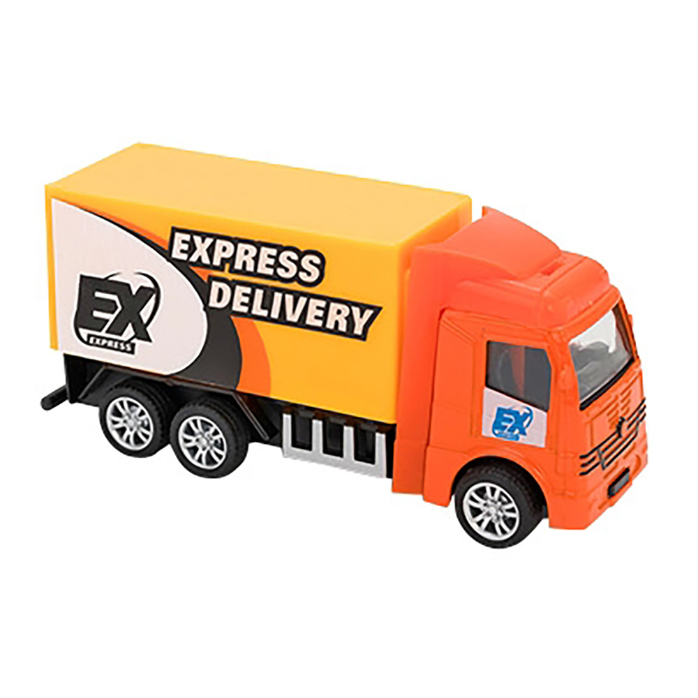 Camion Express Delivery Globo Pull Back Die Cast, 1:55, Portocaliu