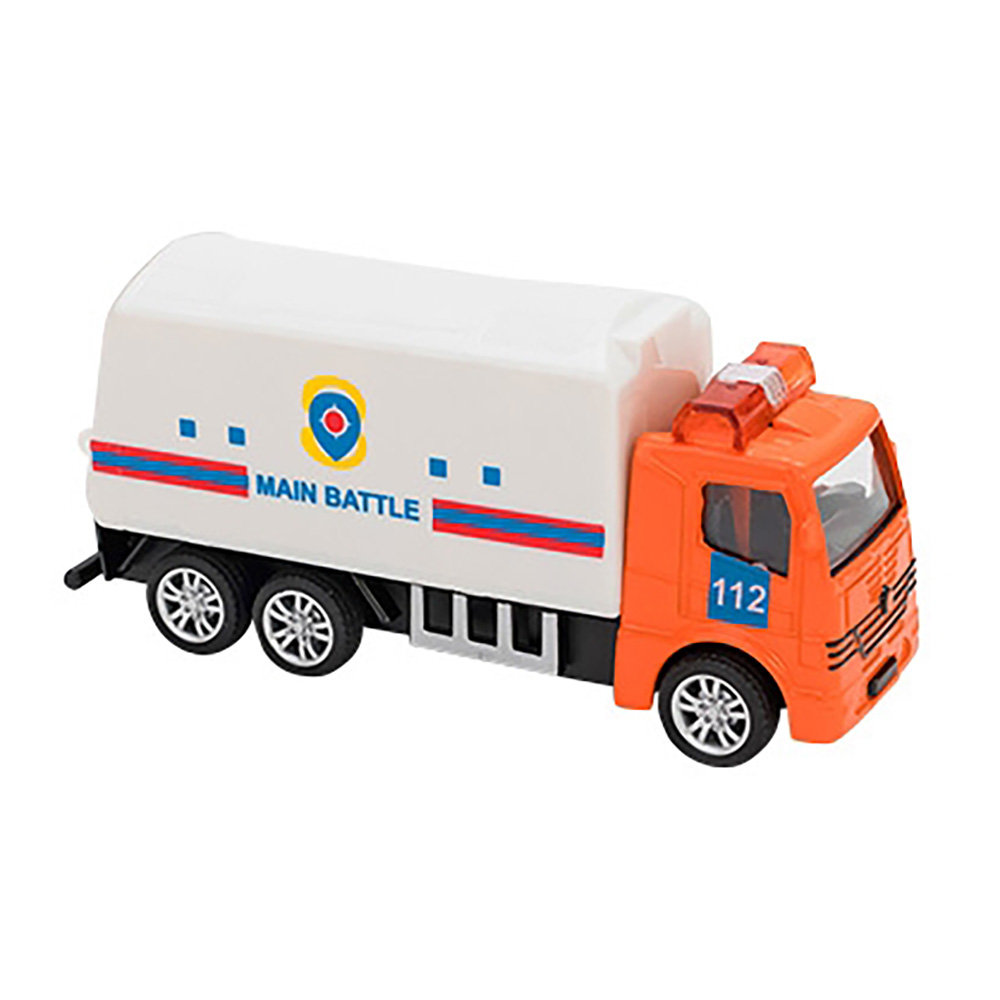 Camion Globo Pull Back Die Cast, 1:55, Portocaliu - Alb