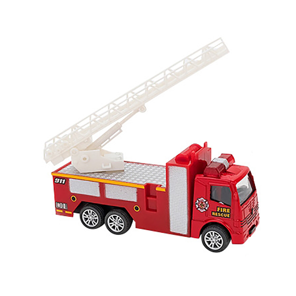 Masina de Pompieri cu scara Globo Pull Back Die Cast, 1:55, Rosu