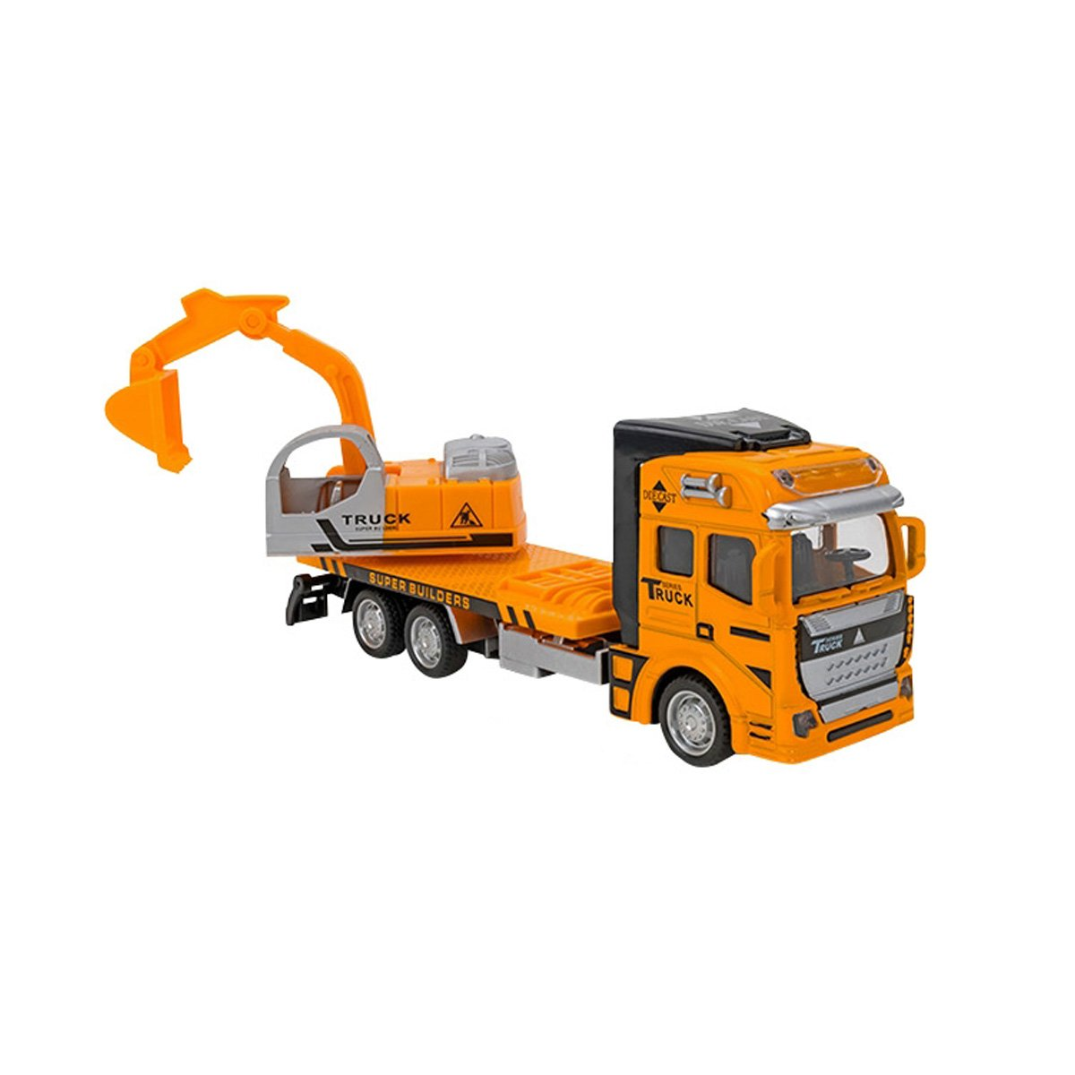 Camion Excavator Globo Die Cast Pull Back & Go, Portocaliu