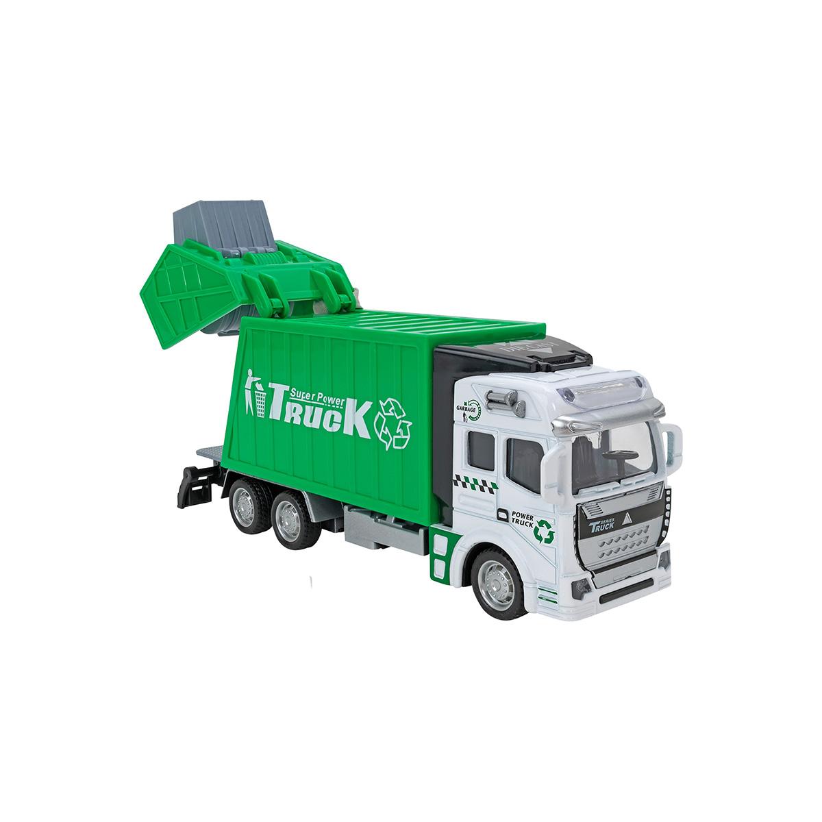 Camion de Gunoi Globo Die Cast Pull Back & Go, Verde
