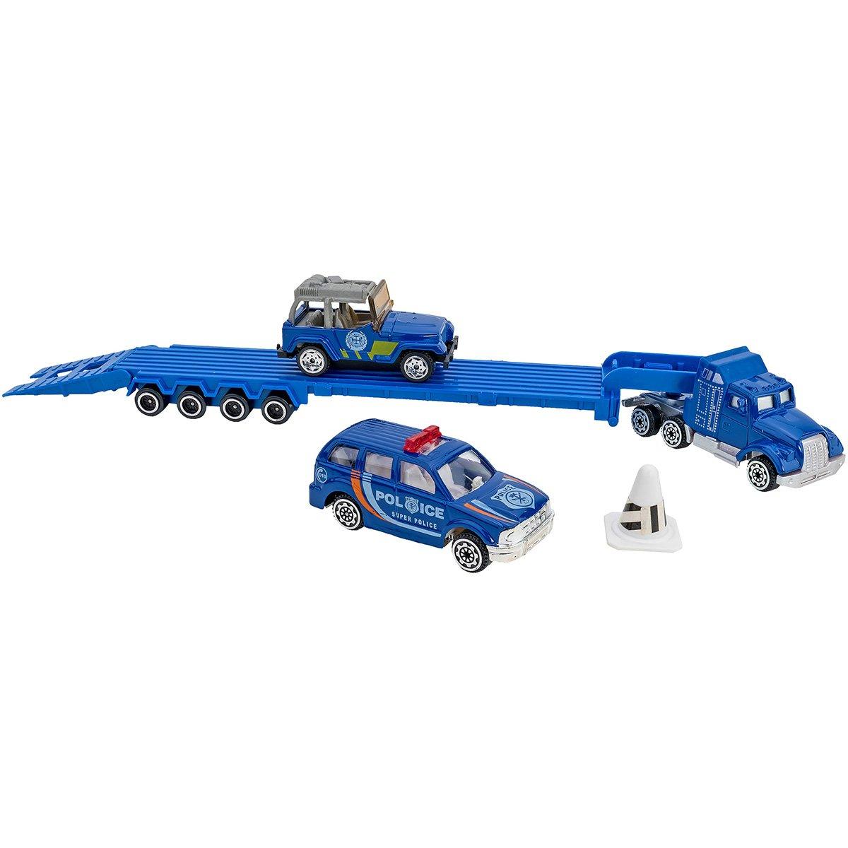 Set Camion transportator si masinute Globo Die Cast Metal, Albastru