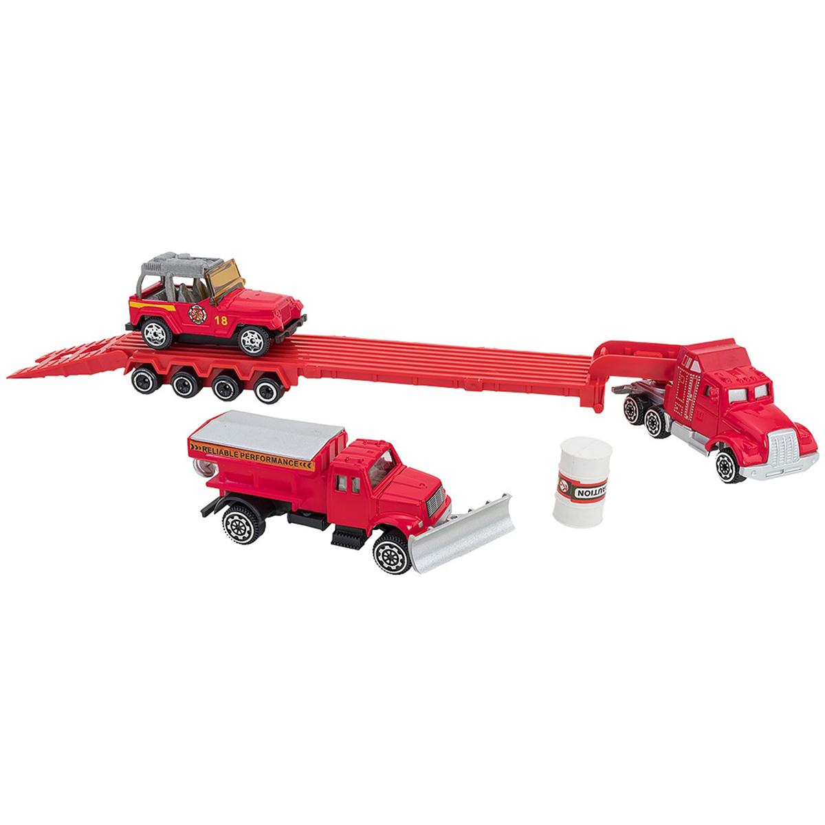 Set Camion transportator si masinute Globo Die Cast Metal, Rosu
