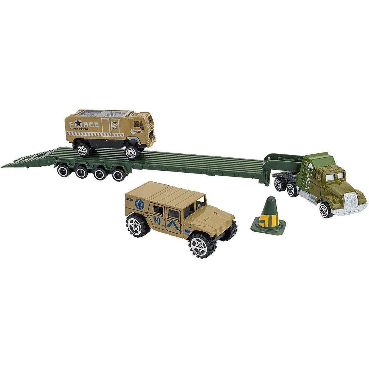 Set Camion transportator si masinute Globo Die Cast Metal, Verde