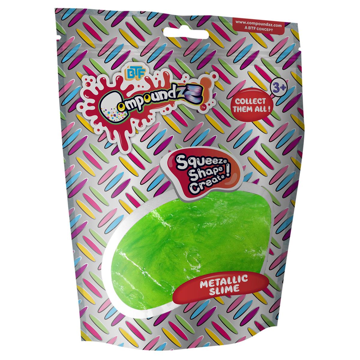 Punguta cu pasta modelatoare Compoundzz, Metallic Slime, Verde