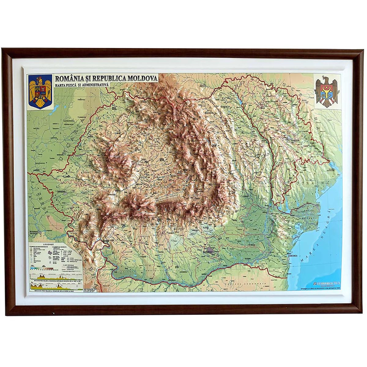 Harta fizica si politica a Romaniei si a Rep. Moldova Eurodidactica 3D