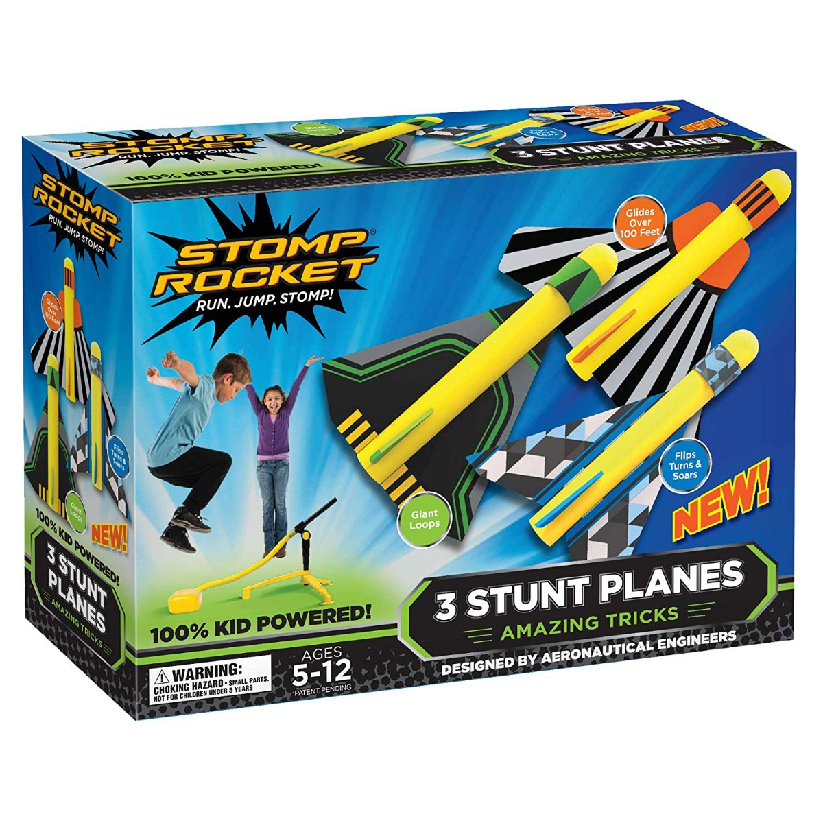 Set 3 avioane si pompa de aer Stomp Rocket, Multicolor
