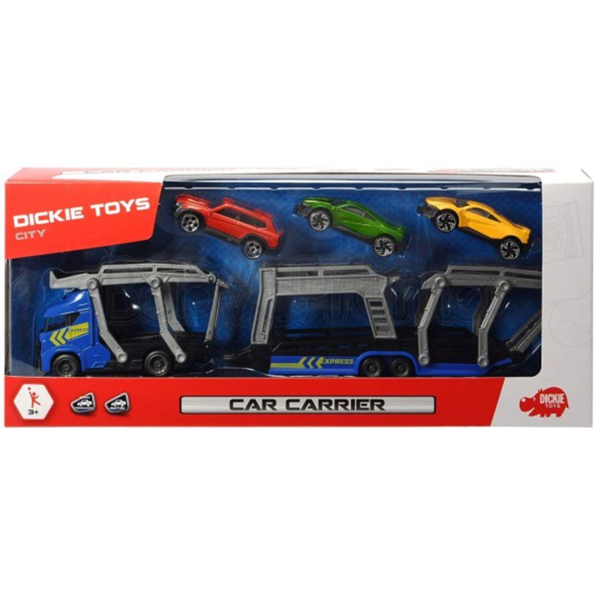 Set trailer cu 3 masinute metalice Dickie, albastru