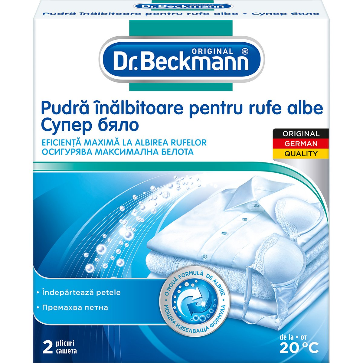 Pudra inalbitoare super white Dr. Beckmann, 2 x 40 g imagine 2021