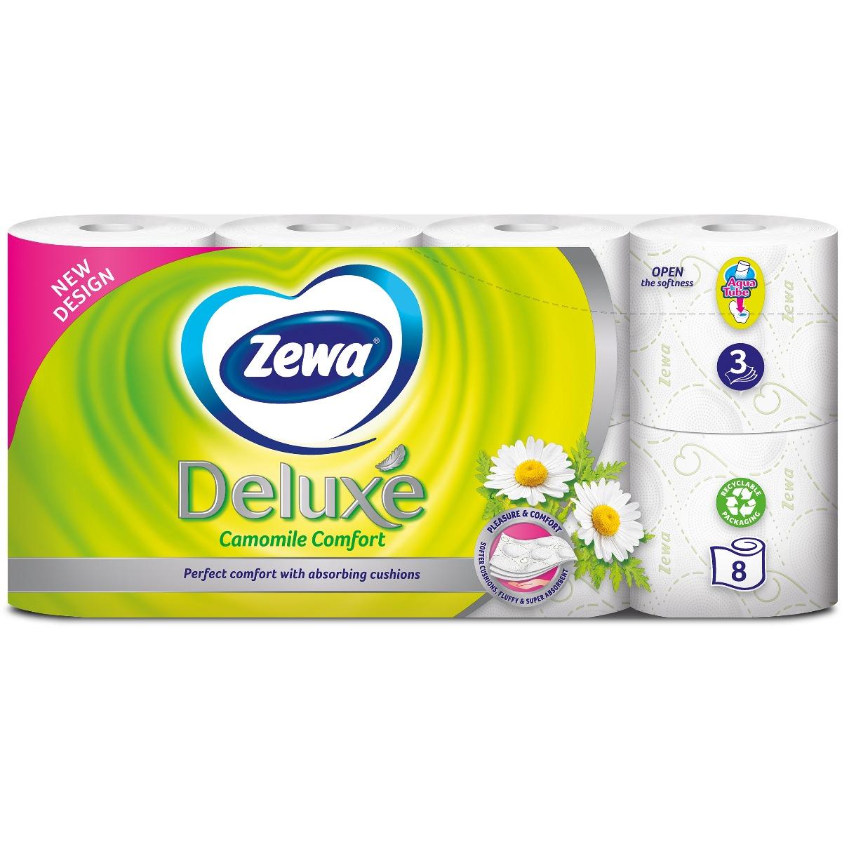 Hartie igienica Zewa Deluxe Camomile Comfort, 3 straturi, 8 role imagine