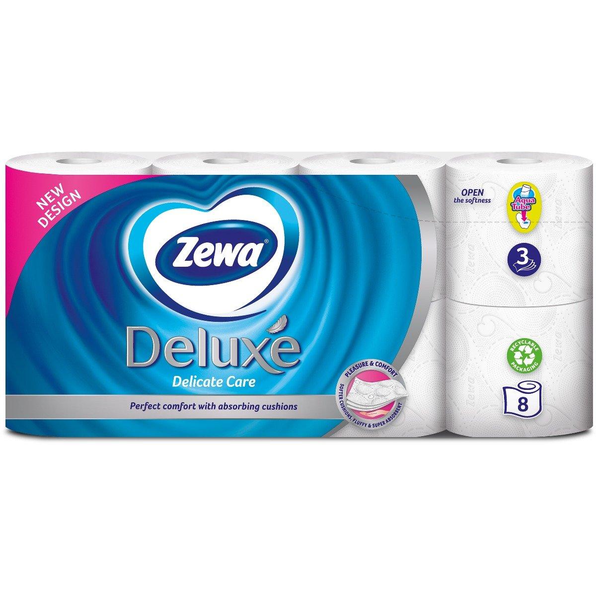 Hartie igienica Zewa Deluxe Delicate Care, 3 straturi, 8 role imagine