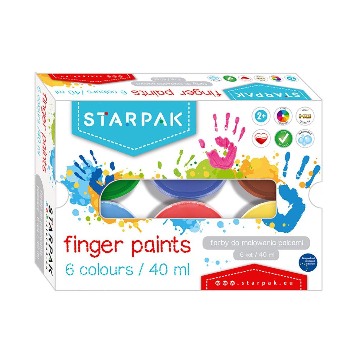 Finger paints cu 6 culori Starpak, 40 ml