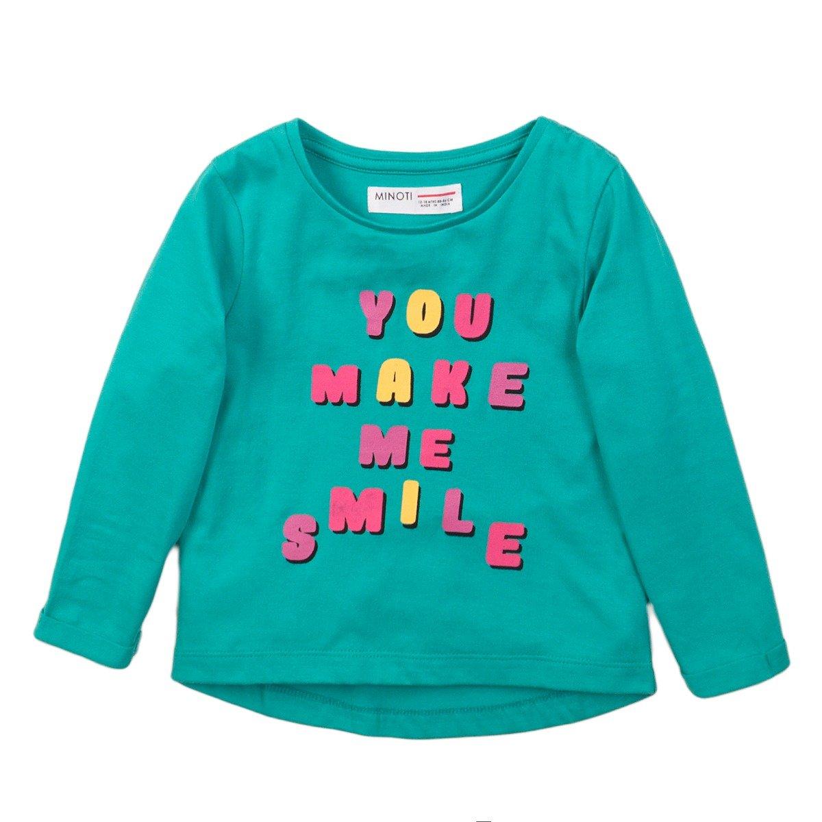 Tricou cu maneca lunga si imprimeu frontal Smile Minoti 4Todtee imagine