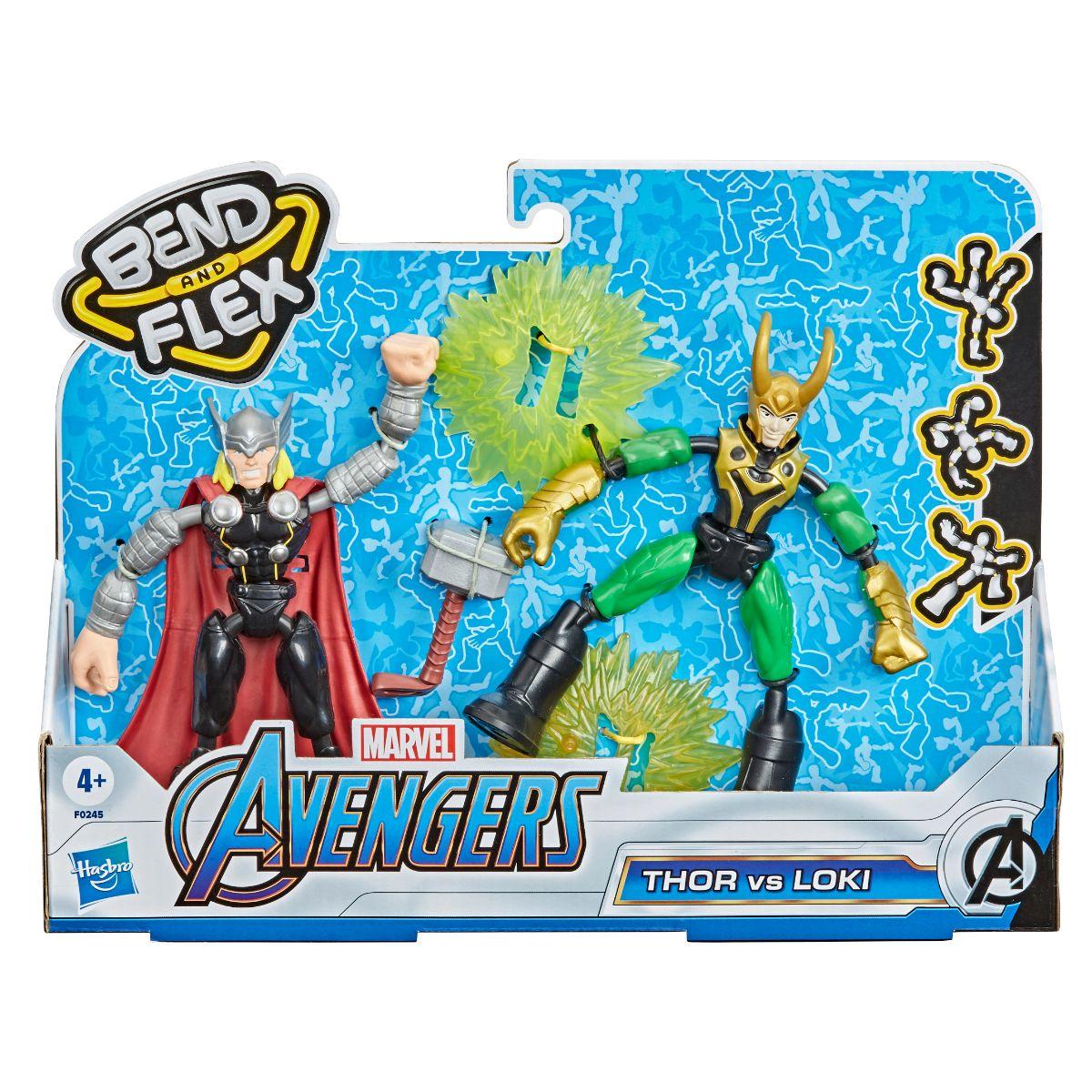 Set figurine Marvel, Avengers, Bend and Flex Thor vs Loki
