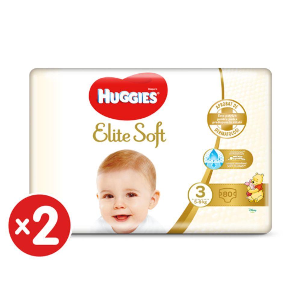 Pachet Scutece Huggies Elite Soft, Nr 3, 5-9 Kg, 160 Buc