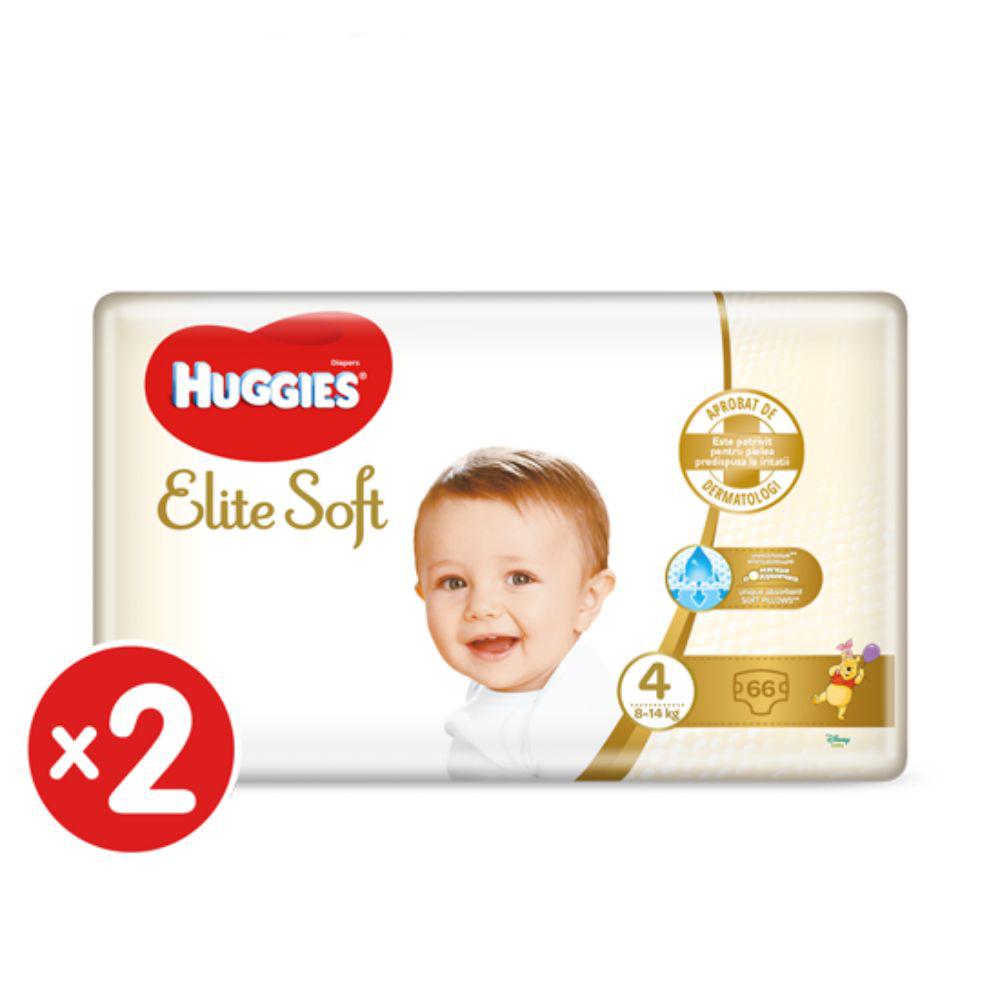 Pachet Scutece Huggies Elite Soft, Nr 4, 8-14 Kg, 132 Buc