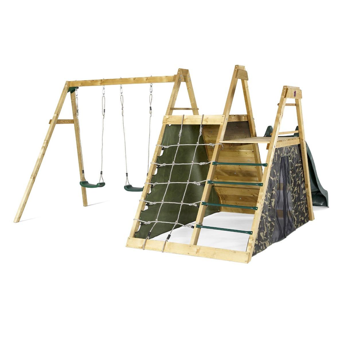 Ansamblu din lemn cu piramida leagane perete de