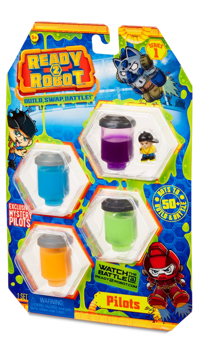 Set figurina si slime Ready2Robot - Pilot Style 1, Seria 1 (554004E5C)