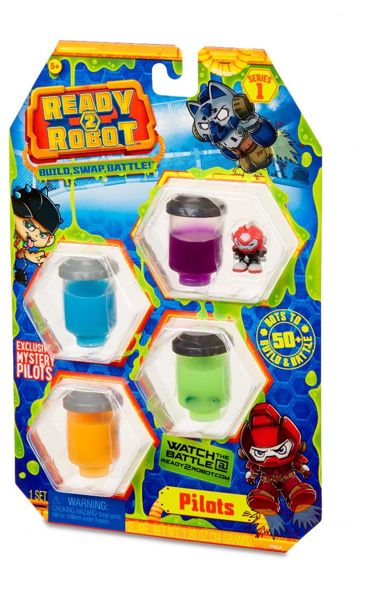 Set figurina si slime Ready2Robot - Pilot Style 2, Seria 1 (554011E5C)