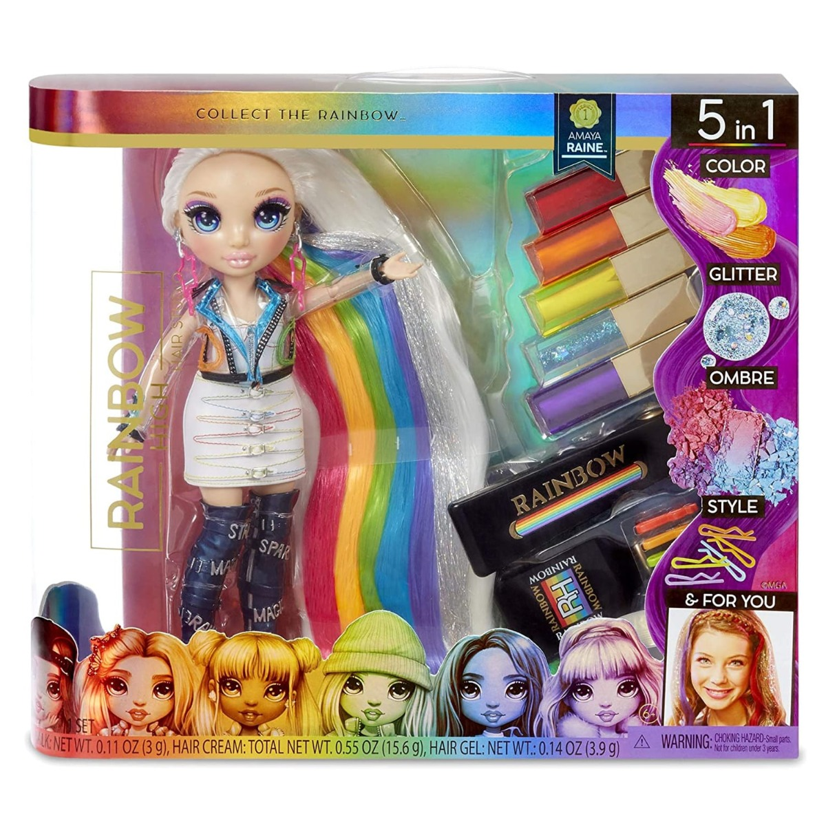 Set salon de par Rainbow High cu papusa Amaya Raine
