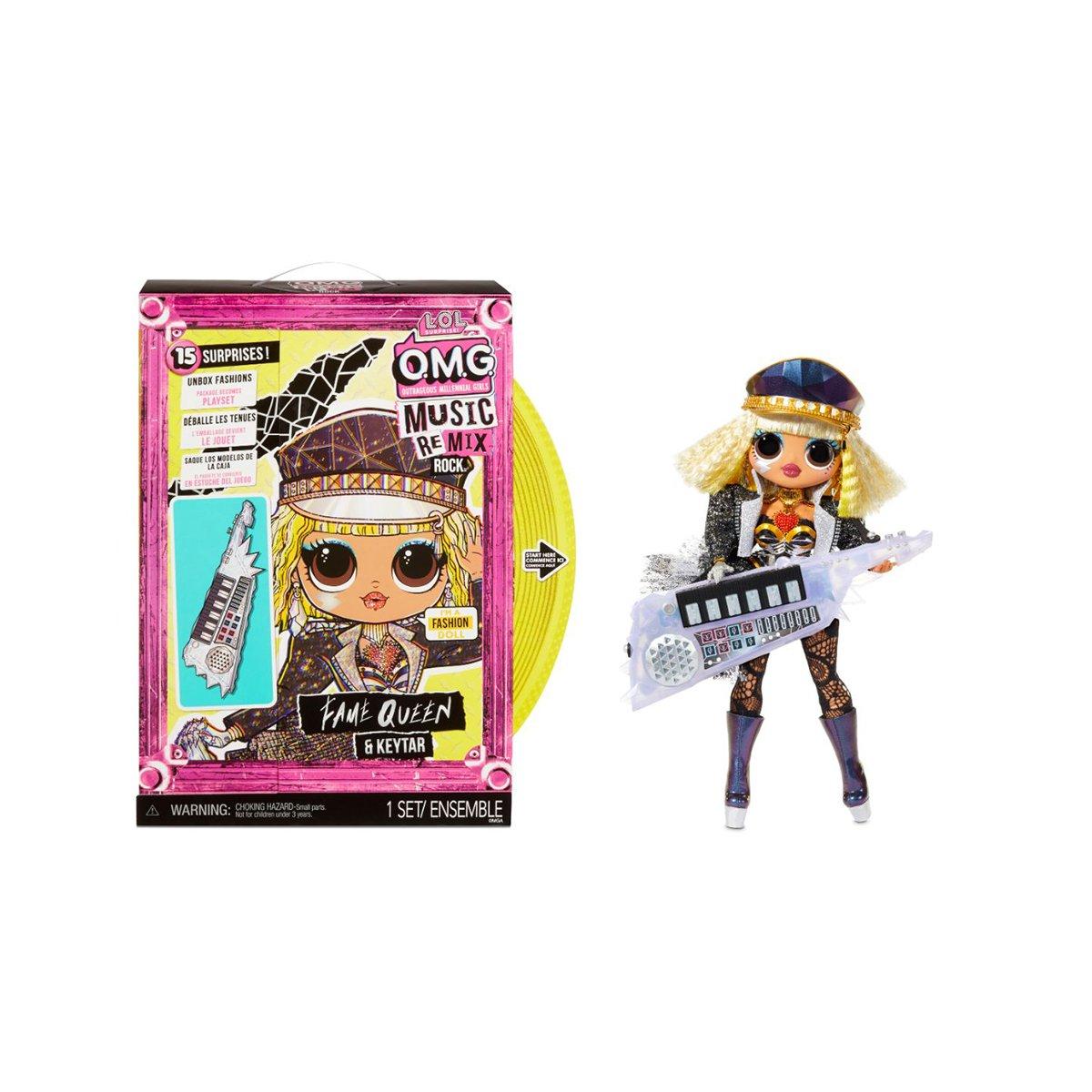 Papusa LOL Surprise OMG Remix Rock, Fame Queen cu orga si 15 surprize, 577607EUC